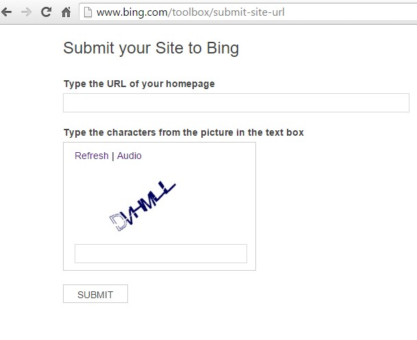 Submit URL to Bing Search Engine