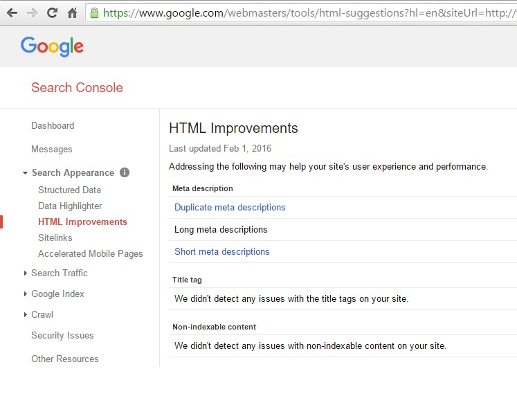 HTML Improvements like meta tag errors can be found here.