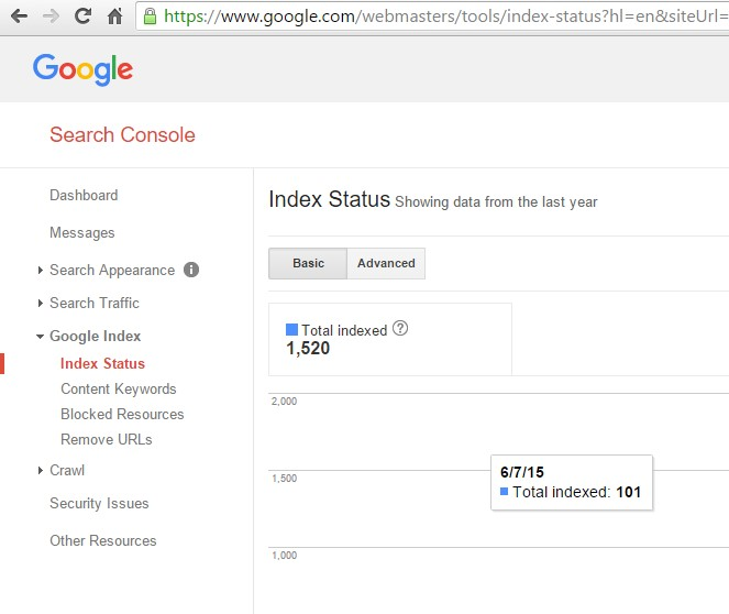 Index Status of your site